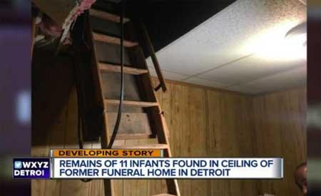 Тела 11 младенцев найдены в перекрытии похоронного бюро